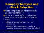 company analysis and stock selection