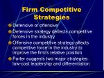 firm competitive strategies