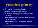 focusing a strategy