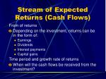 stream of expected returns cash flows