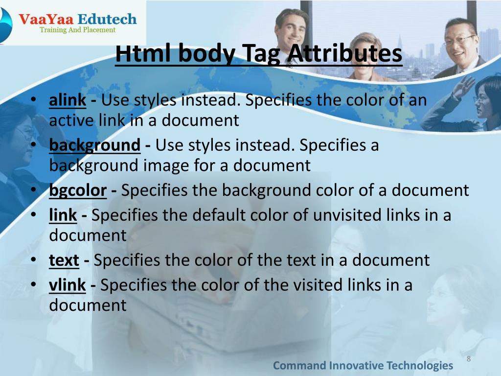 Html body Tag Attributes