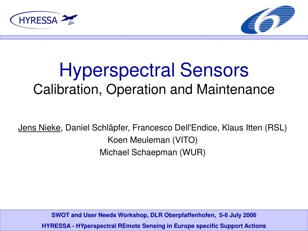 hyperspectral sensors calibration operation and maintenance l.