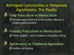 arthropod communities in temperate agroforestry the reality