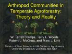 arthropod communities in temperate agroforestry theory and reality