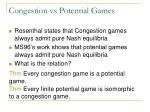 congestion vs potential games