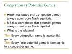 congestion vs potential games