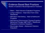 evidence based best practices models of substance abuse dependence treatment