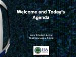 welcome and today s agenda
