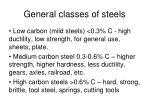 general classes of steels
