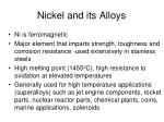 nickel and its alloys