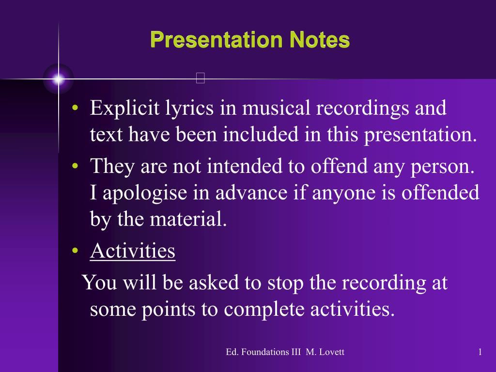 presentation notes l.