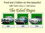 ford lost 2 billion on this beautiful car 250 million in 1958 dollars