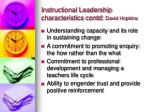 instructional leadership characteristics contd david hopkins