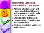 instructional leadership characteristics david hopkins