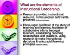 what are the elements of instructional leadership
