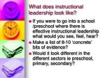 what does instructional leadership look like
