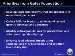 priorities from gates foundation