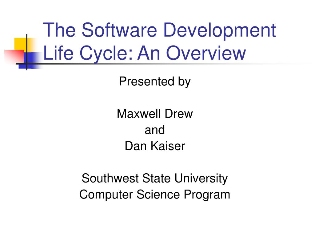 presented by maxwell drew and dan kaiser southwest state university computer science program l.