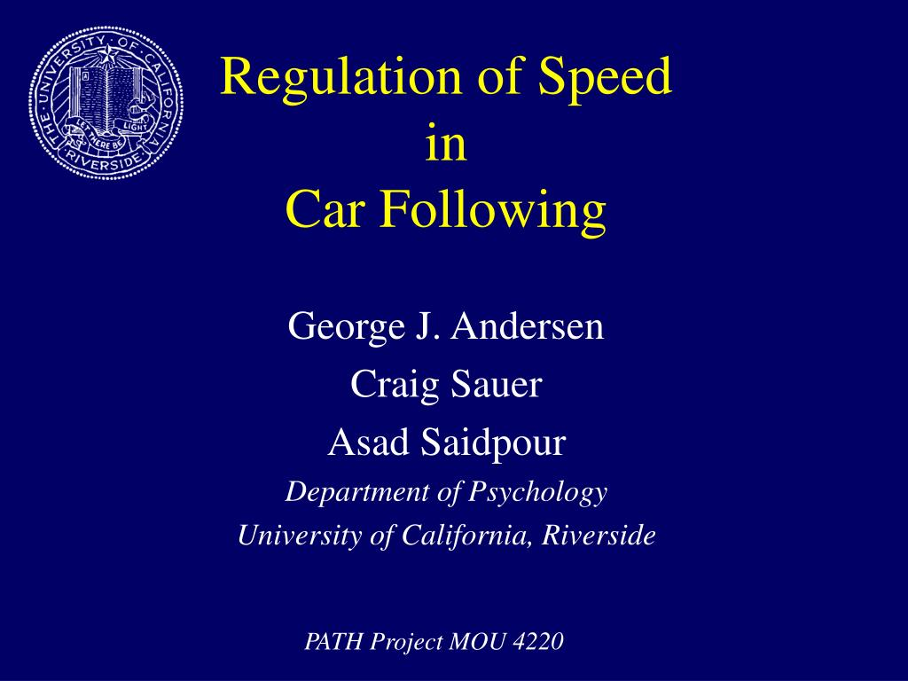 regulation of speed in car following l.