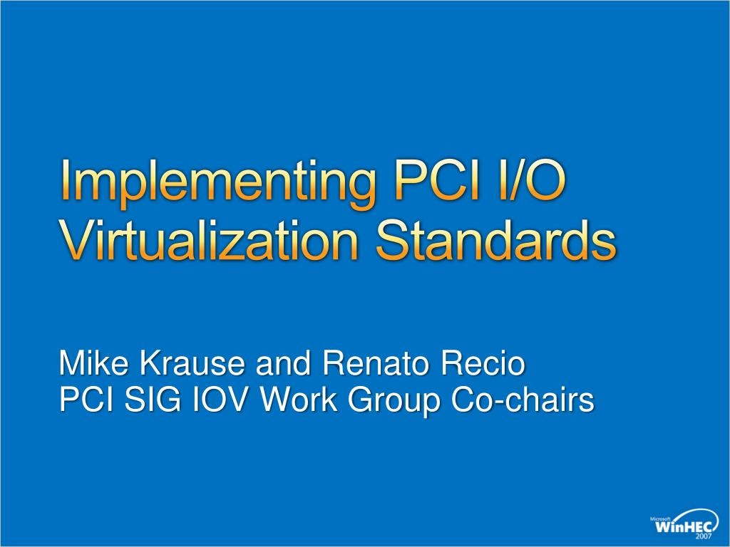implementing pci i o virtualization standards l.