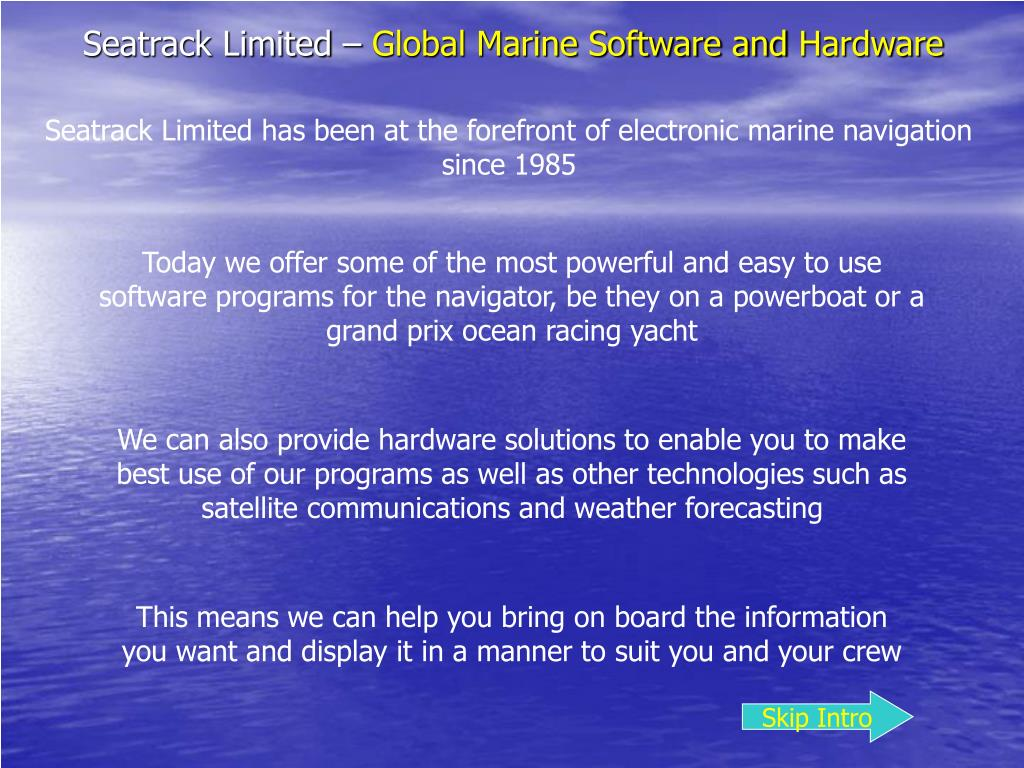 seatrack limited global marine software and hardware l.