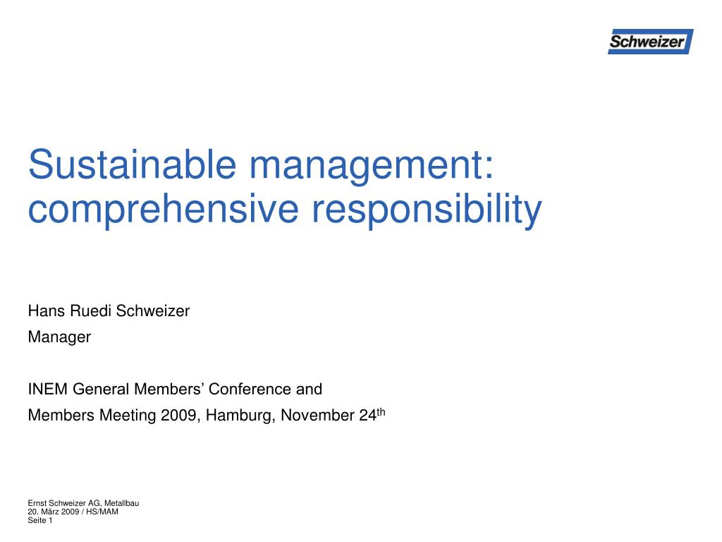 sustainable management comprehensive responsibility l.