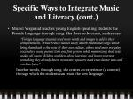 specific ways to integrate music and literacy cont