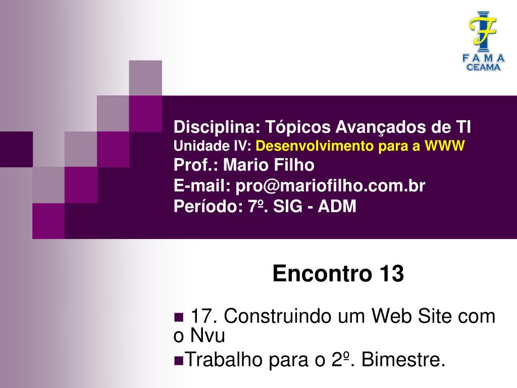 encontro 13 17 construindo um web site com o nvu trabalho para o 2 bimestre l.