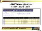 jdw web application search results screen
