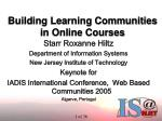 building learning communities in online courses