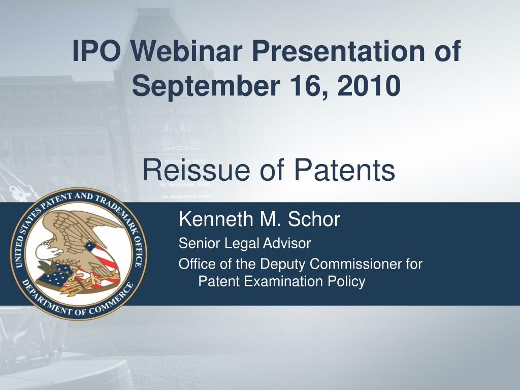 reissue of patents l.
