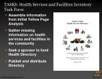 tasks health services and facilities inventory task force