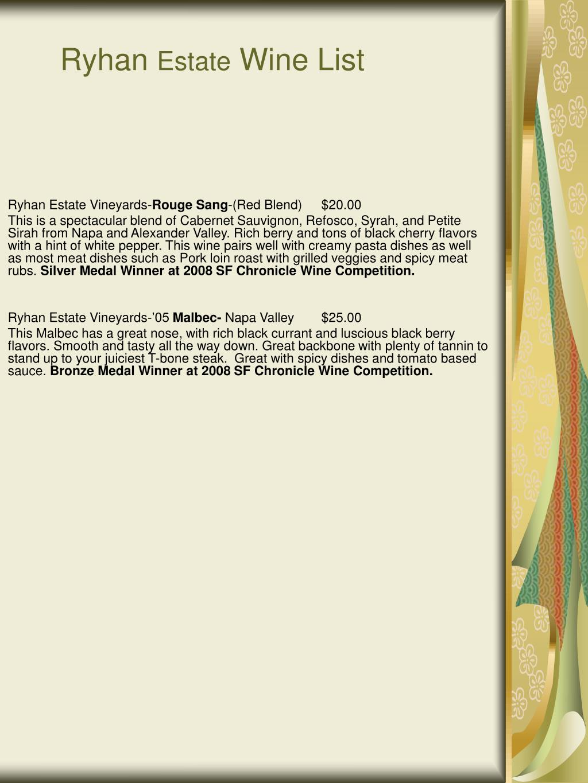 ryhan estate wine list l.