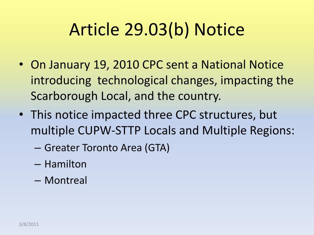 Article 29.03(b) Notice