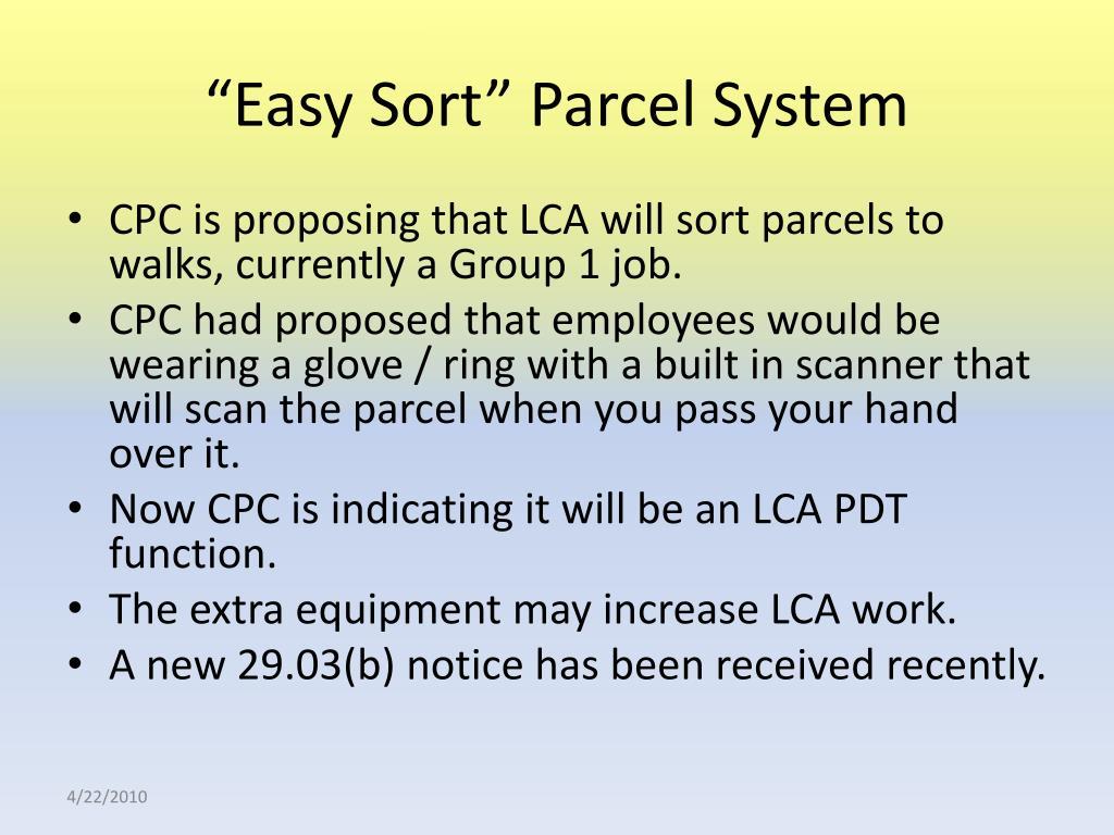 """""""Easy Sort"""" Parcel System"""