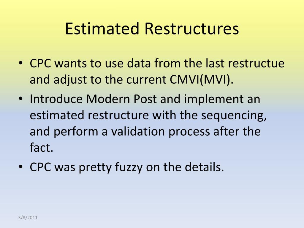 Estimated Restructures