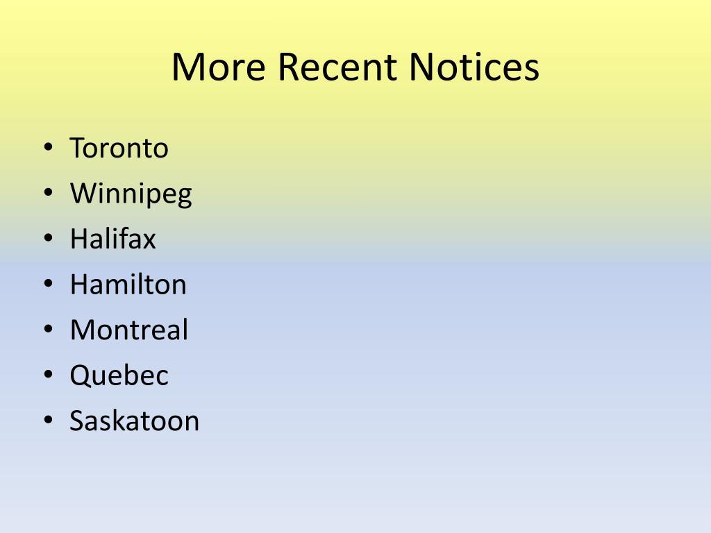 More Recent Notices