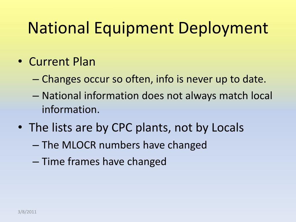 National Equipment Deployment