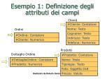 esempio 1 definizione degli attributi dei campi