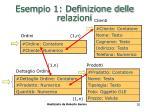 esempio 1 definizione delle relazioni