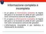 informazione completa e incompleta