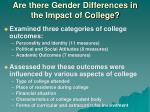 are there gender differences in the impact of college