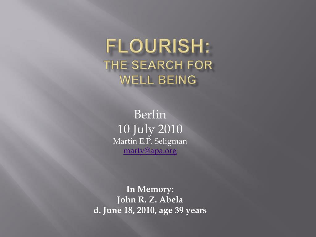 flourish the search for well being l.