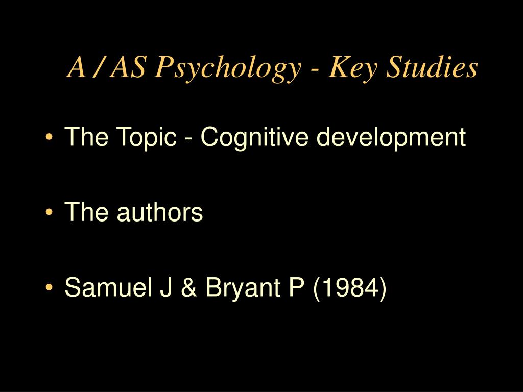 a as psychology key studies l.