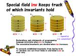 special field inv keeps track of which invariants hold