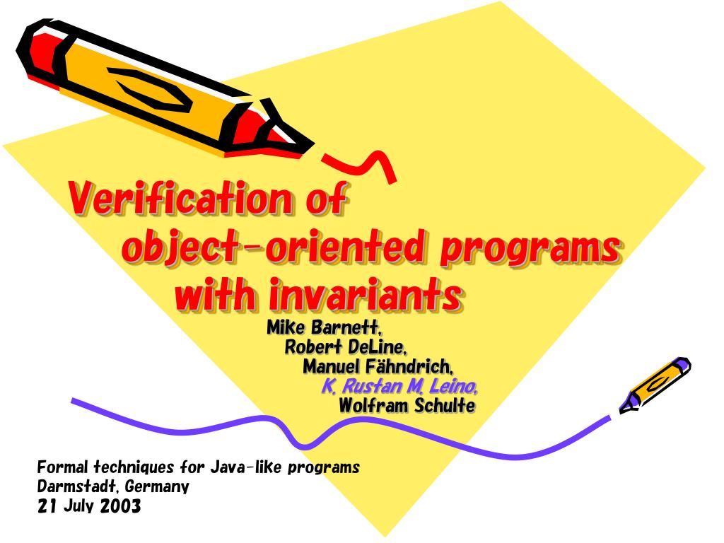 verification of object oriented programs with invariants l.