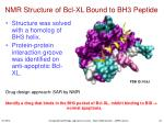 nmr structure of bcl xl bound to bh3 peptide