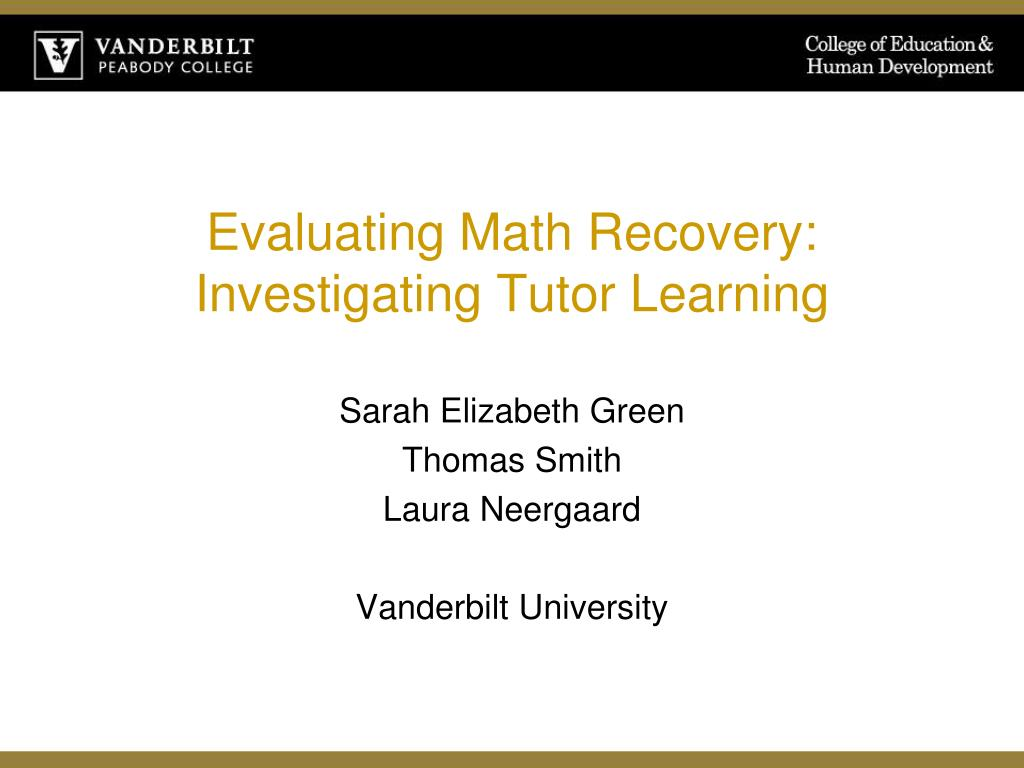 evaluating math recovery investigating tutor learning l.