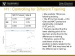 h1 controlling for different training