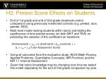 h2 pretest score effects on students